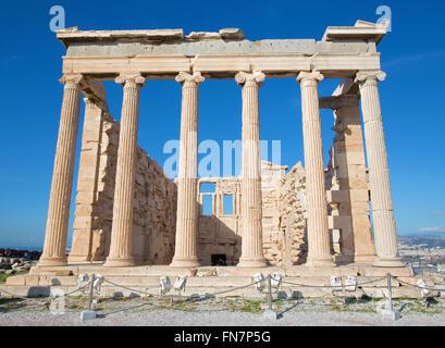 Athens - The Erechtheion on Acropolis in morning light. - Stock Photo