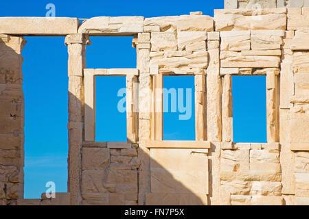 Athens - The detail of walls with the windows of Erechtheion on Acropolis - Stock Photo