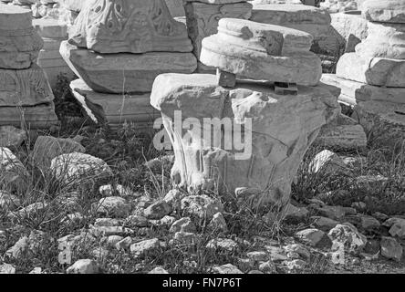 Athens - The detail of old capital on the Acropolis. - Stock Photo