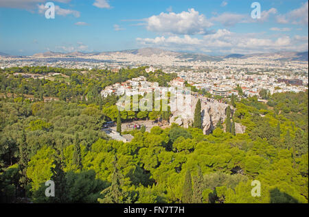 ATHENS, GREECE - OCTOBER 8, 2015: Outlook from Acropolis to Areopagus hill and to Agia Marina church. - Stock Photo