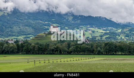 Castle in Balzers town in principality of Liechtenstein. The place is in Rhein valley. - Stock Photo