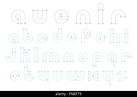 set of thin line style alphabet letters isolated on white background. vector font type design. premium quality lettering - Stock Photo