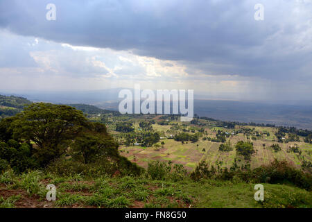 Africa: Kenya: The East African Rift Valley looking North West from Limuru over the farmed terraces towards the - Stock Photo