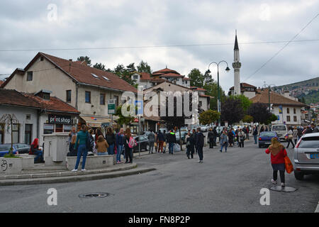 A street off the Old Town section of Sarajevo, Bosnia and Herzegovina. - Stock Photo
