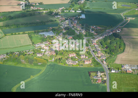 An aerial view of the hamlet of Kirton End and surrounding Lincolnshire countryside - Stock Photo