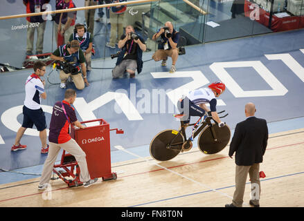 Jody Cundy during his infamous famous rear wheel slip,not being allowed a restart .Then outburst.Paralympics,London,2012,England - Stock Photo