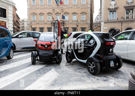 Electric Renault Twizy Cars in Rome - Stock Photo