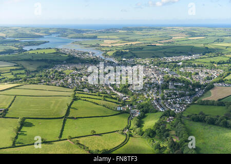 An aerial view of the Devon town of Kingsbridge with the estuary visible in the distance - Stock Photo