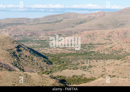 View from the mountain pass on the Kranskop Loop in the Mountain Zebra National Park near Cradock in South Africa - Stock Photo