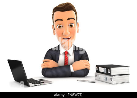 3d businessman sitting at desk with laptop and ring binder, isolated white background - Stock Photo