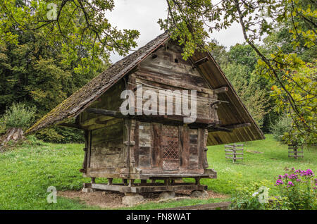 Historical cranary, Open Air Museum Ballenberg, Bern, Switzerland | Historischer Kornspeicher im Freilichtmuseum - Stock Photo