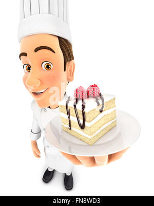 3d head pastry chef holding piece of cake, isolated white background - Stock Photo