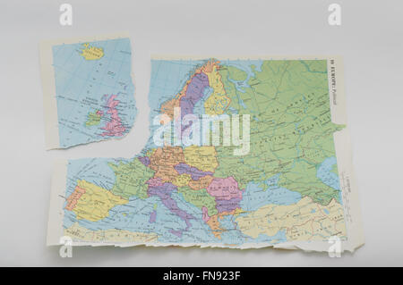 Map dating from 1984 torn to represent the EU referendum and possible 'Brexit' by Britain. In England. On 14 - Stock Photo