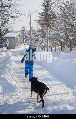 Dog chasing woman down the street in snow - Stock Photo