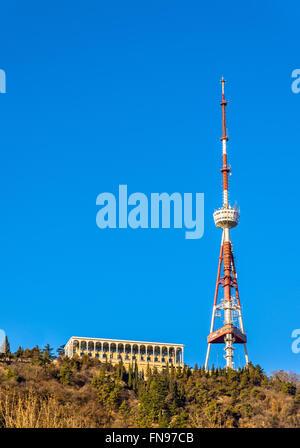 Tbilisi TV tower on Mount Mtatsminda - Stock Photo