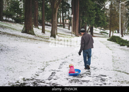Man pulling dog on sledge in snow - Stock Photo