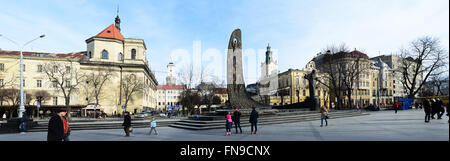 Lviv, Ukraine - January 30, 2016: Lviv cityscape. Panorama of The central square of Lviv - Stock Photo