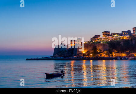 Ulcinj old town fortress after sunset. - Stock Photo