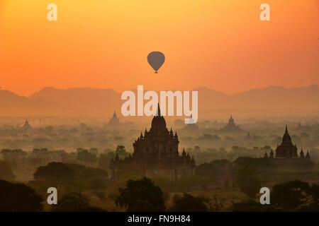 Hot air Balloons over Bagan, Mandalay, Myanmar - Stock Photo