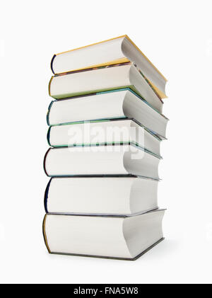 A pile books with colored spines, isolated on white background - Stock Photo
