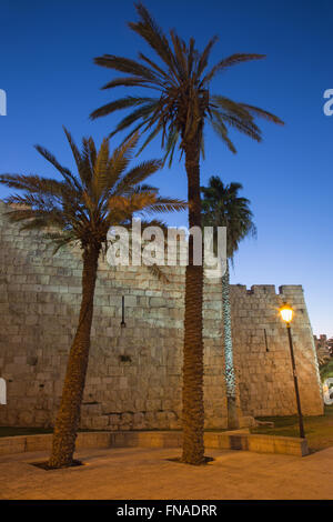 Jerusalem - West part of the town walls at dusk. - Stock Photo