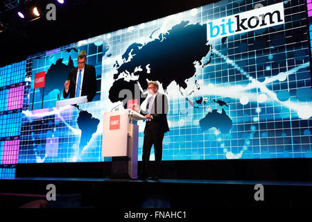 Hanover, Germany. 14th Mar, 2016. Bitkom President Thorsten Dirk speaking during the Welcome Night for the CeBIT - Stock Photo