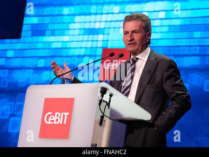 Hanover, Germany. 14th Mar, 2016. EU Commissioner Guenther Oettinger (CDU) speaking during the Welcome Night for - Stock Photo