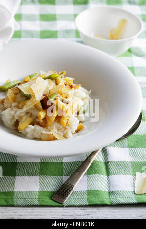 risotto with roasted green beans, food closeup - Stock Photo