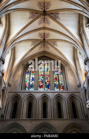 South Transept stained glass window. Wells Cathedral. Somerset, England