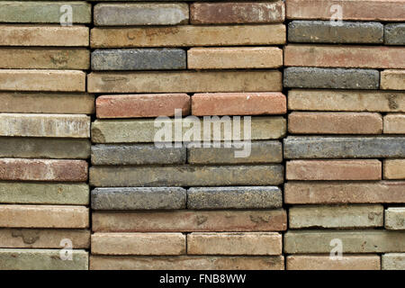 stacked old red brick - Stock Photo