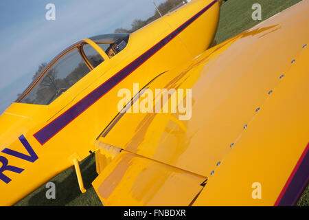 Vans RV-6A homebuilt kit two seat light aircraft painted yellow in UK - Stock Photo