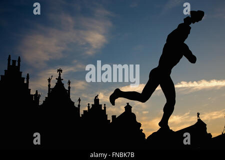 Antwerp -  Silhouette of Brabo fountain and palaces of Grote Markt in morning light - Stock Photo