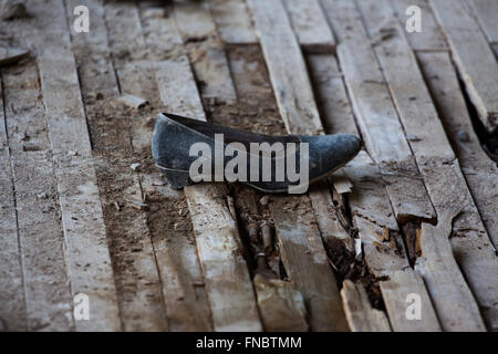 Lost shoe after Chernobyl nuclear disaster - Stock Photo