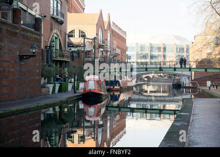 Narrowboats on the canal at Brindley Place Birmingham, England, UK - Stock Photo