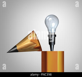 Idea pencil concept as an open drawing instrument with an emerging bright illuminated lightbulb or light bulb as a creative imagination metaphor or education solutions icon.