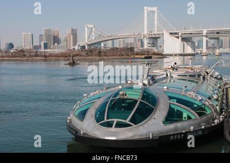 Hotaluna, unique boat design, Tokyo cruise, Tokyo Bay, Odaiba, Tokyo, Japan - Stock Photo