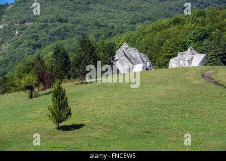Tjentiste War Memorial in Sutjeska National Park in Republika Srpska entity, Bosnia and Herzegovina - Stock Photo