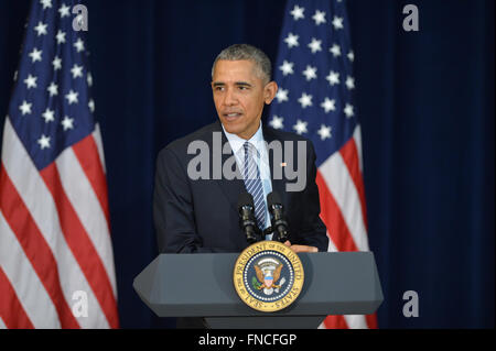 Washington, DC, USA. 14th Mar, 2016. U.S President Barack Obama delivers remarks at the 2016 Chief of Missions Conference - Stock Photo