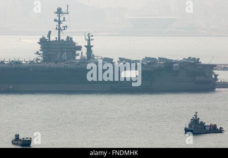 The USS John C. Stennis, Mar 14, 2016 : U.S. nuclear-powered supercarrier, the USS John C. Stennis is seen at a - Stock Photo