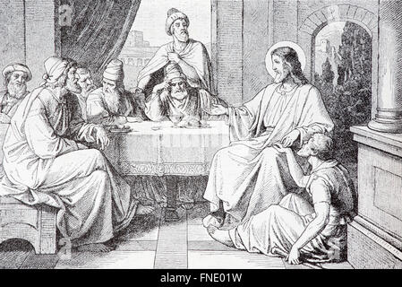 SEBECHLEBY, SLOVAKIA - JULY 27, 2015: The Supper in the House of Simon Pharisee lithography by unknown artist, 1907 - Stock Photo