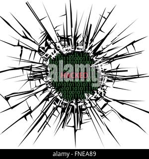 Security hole with word hacked - Stock Photo