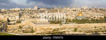 Jerusalem - The Panorama from Mount of Olives to old city - Stock Photo