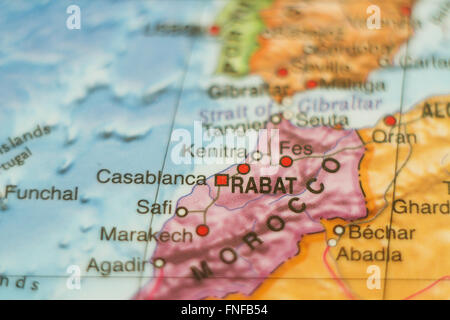 Beautiful photo of a map of Morocco and the capital Rabat . - Stock Photo