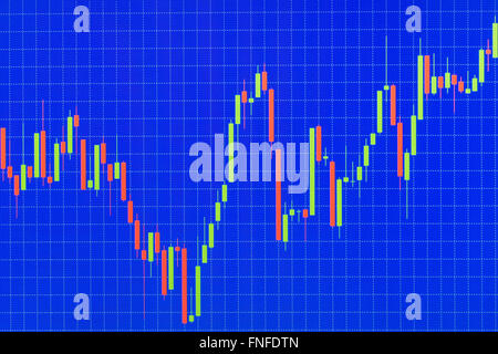 Red and green candlestick chart or stock graph on blue screen with table line - Stock Photo