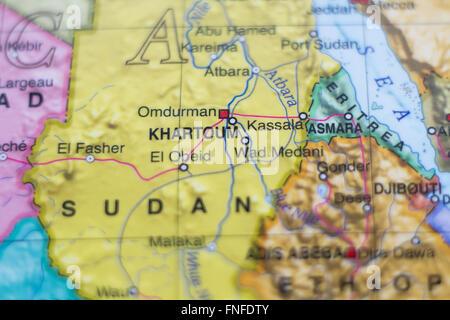 Beautiful photo of a map of Sudan and the capital Khartoum . - Stock Photo