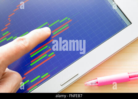 Pointing stock graph or Forex graph or candlestick chart on blue background and pen on wood table - Stock Photo