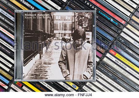 Richard Ashcroft 2006 album Keys to the World, piled music CD cases, Dorset England - Stock Photo