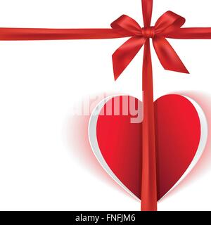 Gift bow with paper heart and copy-space greeting card - Stock Photo