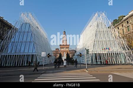 Europa , Italy , Lombardy , Milan , expo 2015 , expo gate , Castello Square - Stock Photo