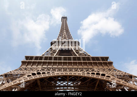 Eiffel tower seen from below  Paris France - Stock Photo